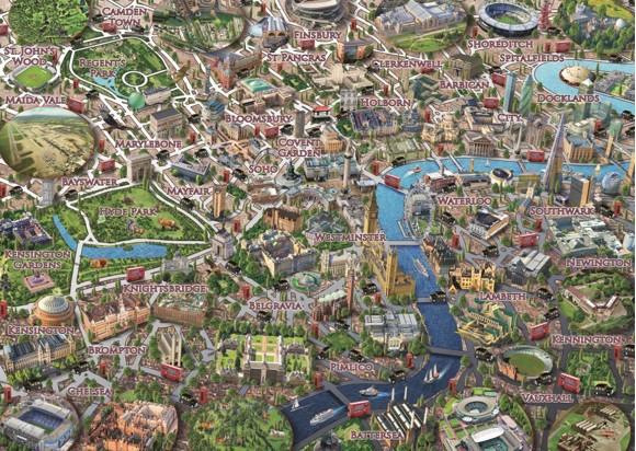 Falcon Deluxe Map of London Jigsaw Puzzle (1000 Pieces)