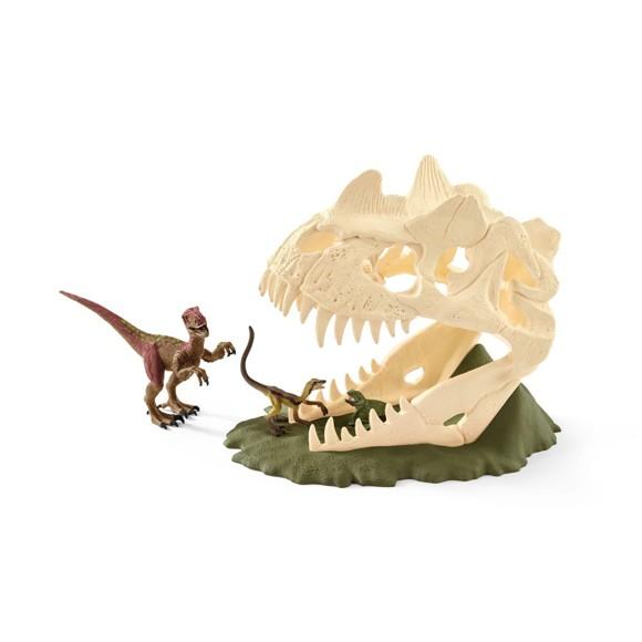 Schleich - Dinosaurs -  Stor kraniefælde med Velociraptor (42348)