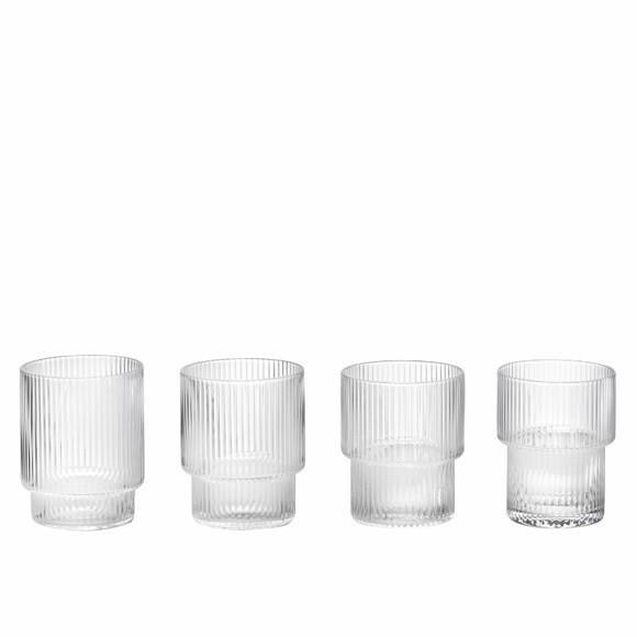 Ferm Living - Ripple Glas Sæt á 4 - Klar