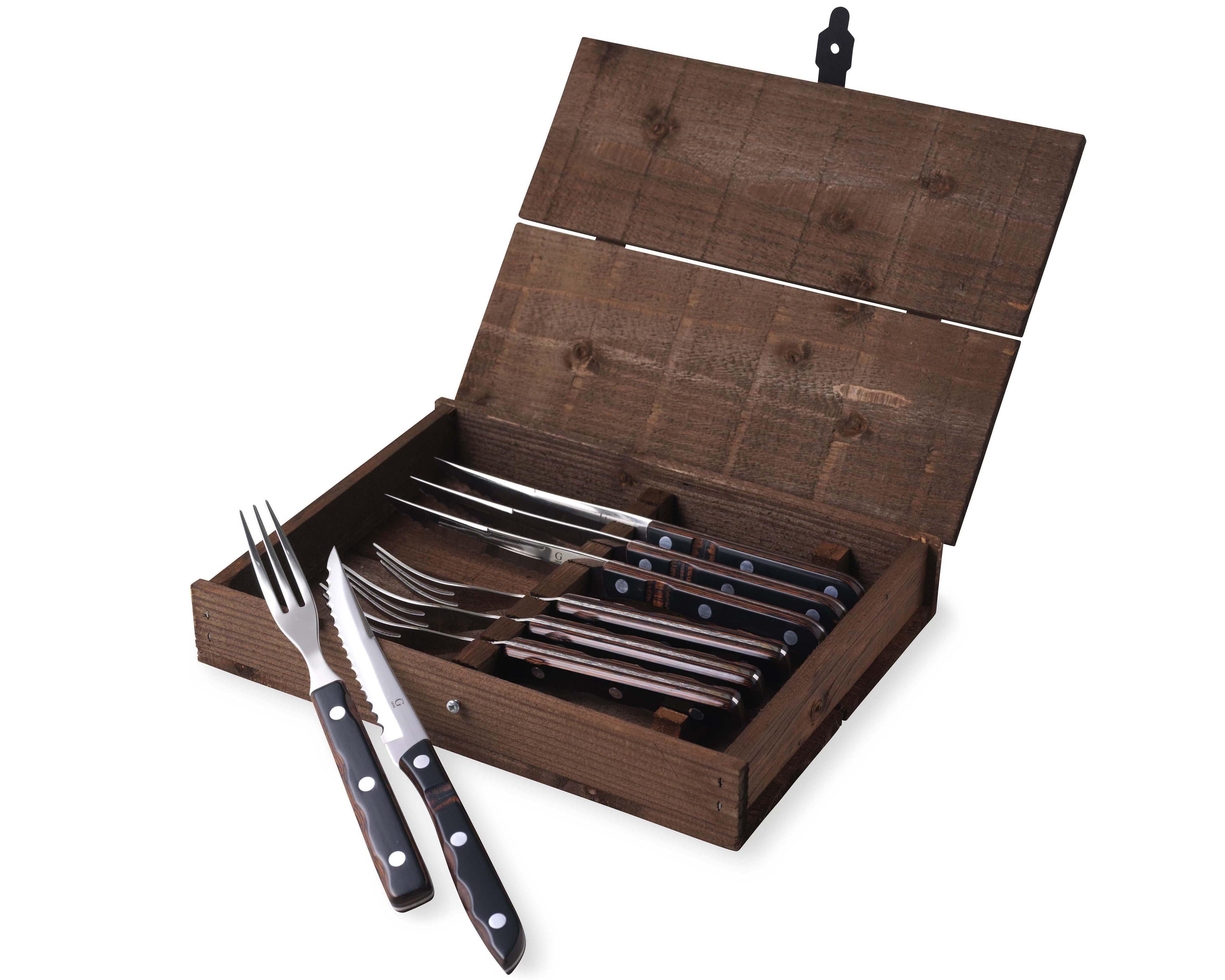 Gense - Old Farmer Classic Steak Cutlery 4 Set - Brown Wood/Steel (704893)