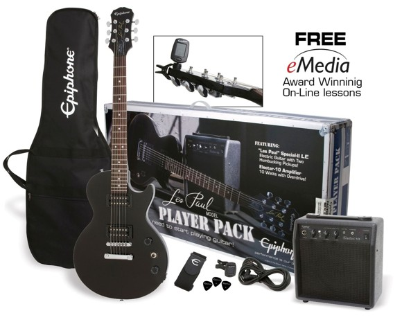 Epiphone Les Paul Player Pack - Electric Guitar Starter Kit (Ebony)