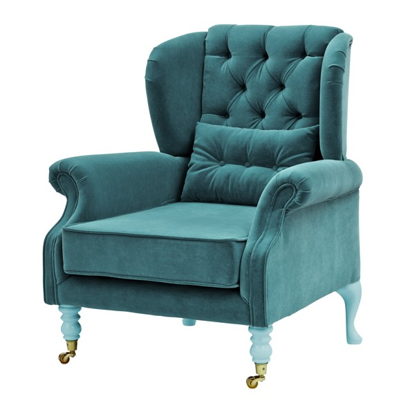 Rice - Velvet Wing Chair + Small Cushion - Petrol w. Mint Legs