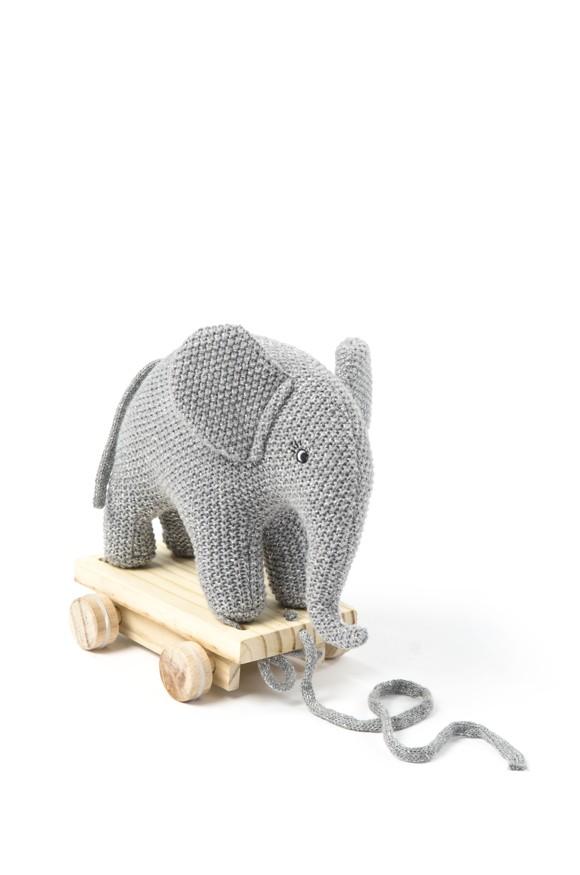 Smallstuff - Pull Along Elephant - Grey/Silver