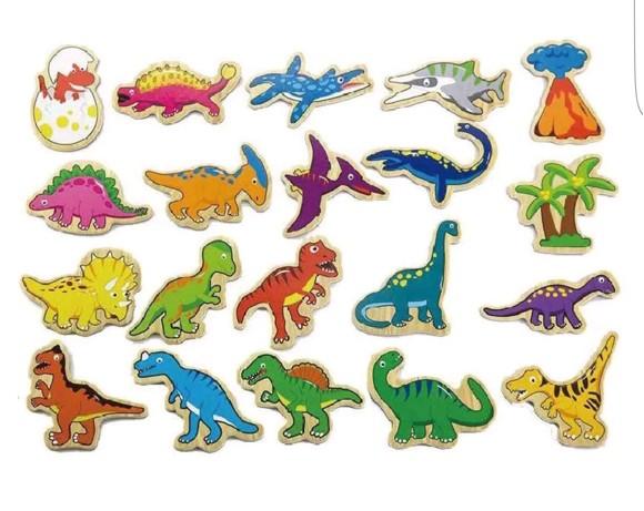 Viga - Wooden Magnets - Dinosaurs (N50289)