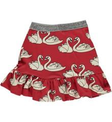 Småfolk - Skirt w. Swan Print - Dark Red
