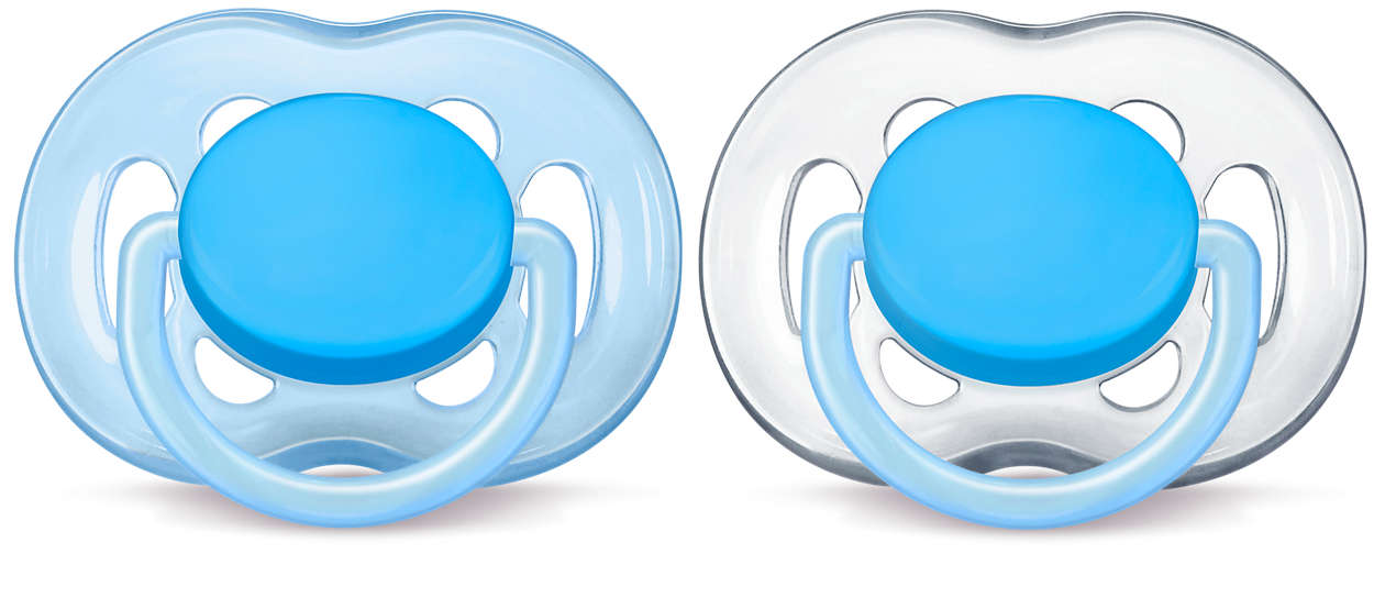 4 Pack Philips Avent Translucent Toddler Pacifiers 6-18 Months Aqua//Blue