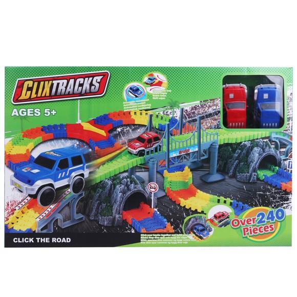 Clixtracks – 240 pcs Giant Car Track incl. 2 Cars (61105015)