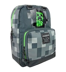 "​Minecraft 18"" Creepy Creeper Backpack - Dark Grey"