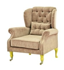 Rice - Velvet Wing Chair + Small Cushion - Beige w. Yellow Legs