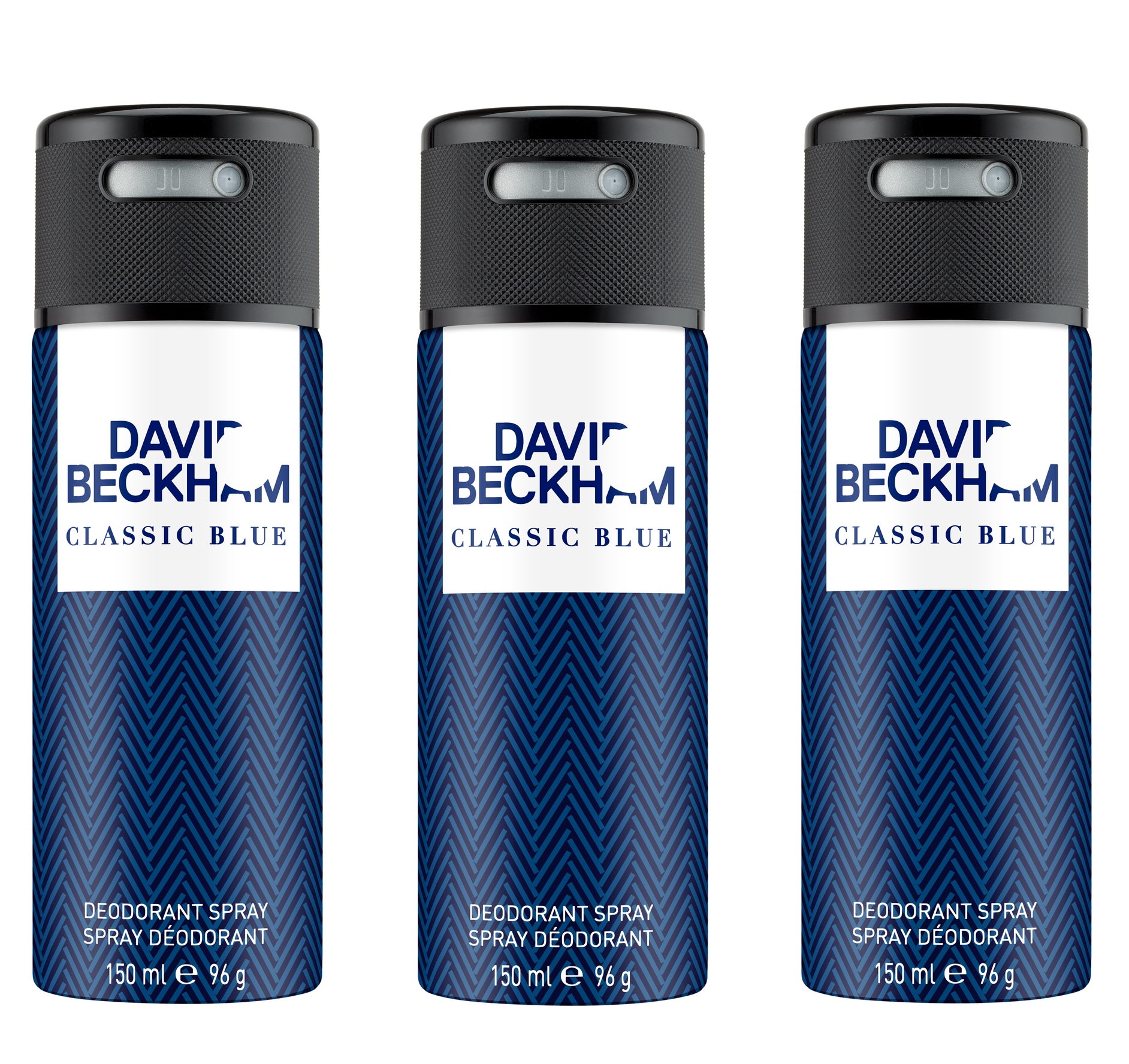 David Beckham - 3x Classic Blue Deodorant Spray 150 ml