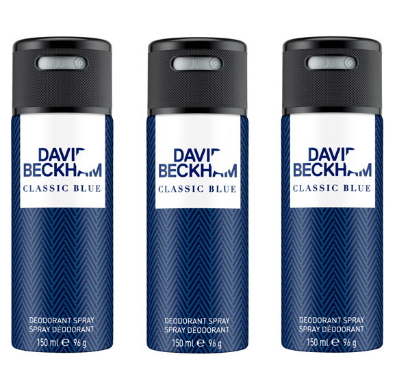 David Beckham - 3x Classic Blue Deodorant Spray 150 ml