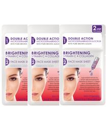 Skin Republic - 3x 2 Step Brightening Vitamon C + Collagen Face Sheet Mask