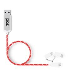 PAC - Ladekabel 3i1 1m Rød LED Belyst Kabel ( 1m )