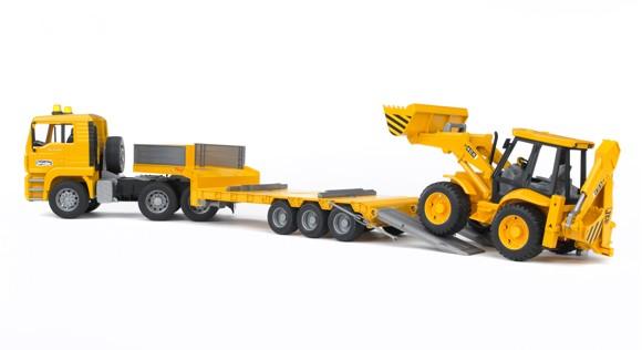 Bruder - MAN TGA Low Loader Truck with JCB 4CX Blackhoe Loader