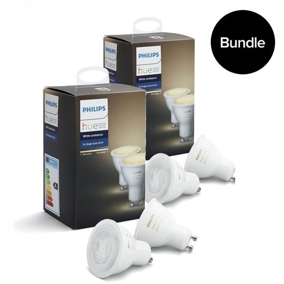 Philips Hue - 2xDoppelpack GU10 - White Ambiance - Neue Bluetooth Edition - Bundle