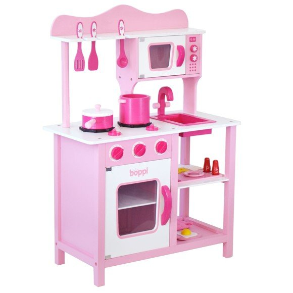 Boppi Pink Wooden 20 piece Toy Kitchen