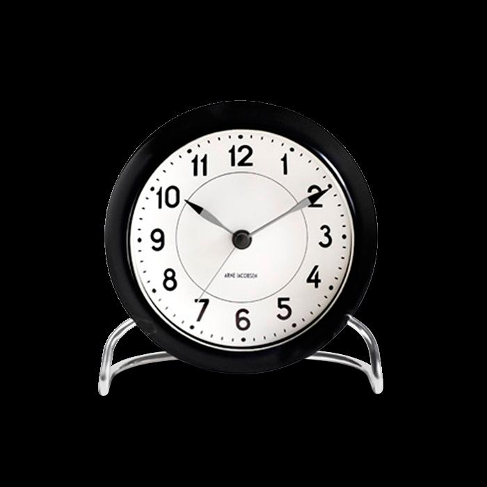 Arne Jacobsen - Station Table Clock  - Black/White (43672)