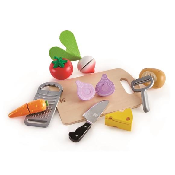 Hape - Legemad Grøntsager med skærebræt og kniv (6115)