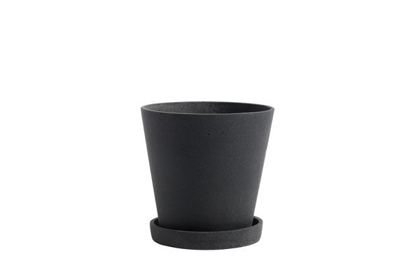 HAY - Flowerpot w/saucer Medium - Black