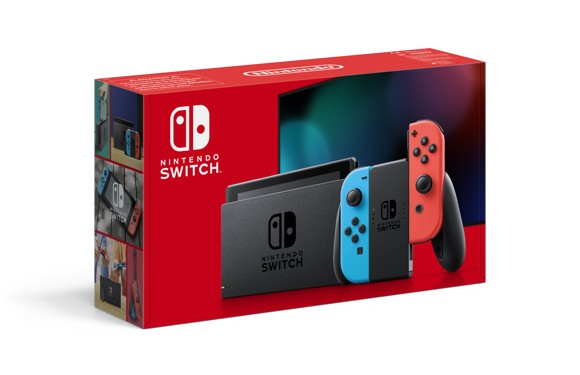 Nintendo Switch Console with Neon Red & Neon Blue Joy-Con (Upgraded Version)