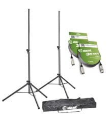 Adam Hall - SPS 023 SET 3 - Speaker Stand Set + XLR Cables & Transport Bag