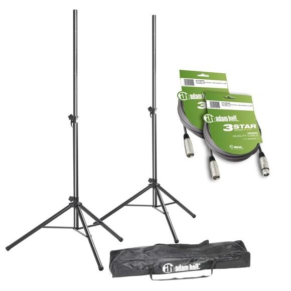 Adam Hall - SPS 023 SET 3 - Speaker Stand Set + XLR Cables & Transport Bag