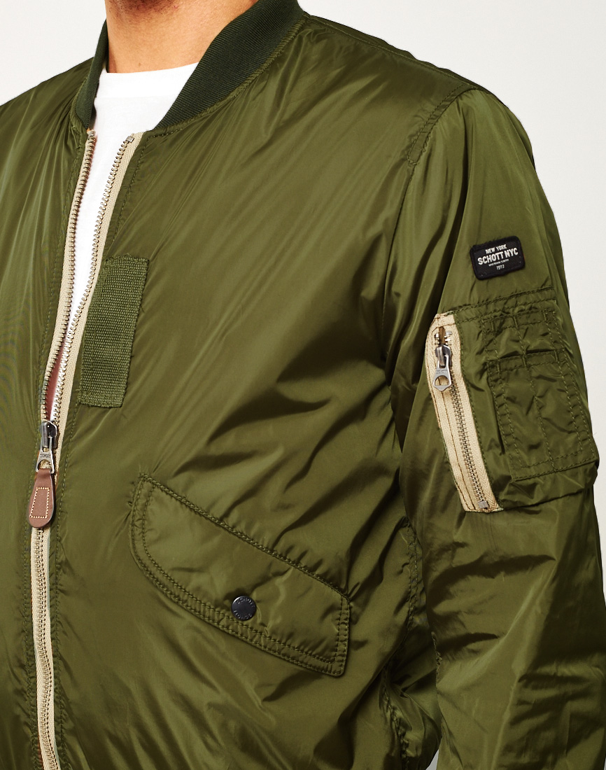 Osta Schott Light Padded MA 1 Bomber Jacket Green