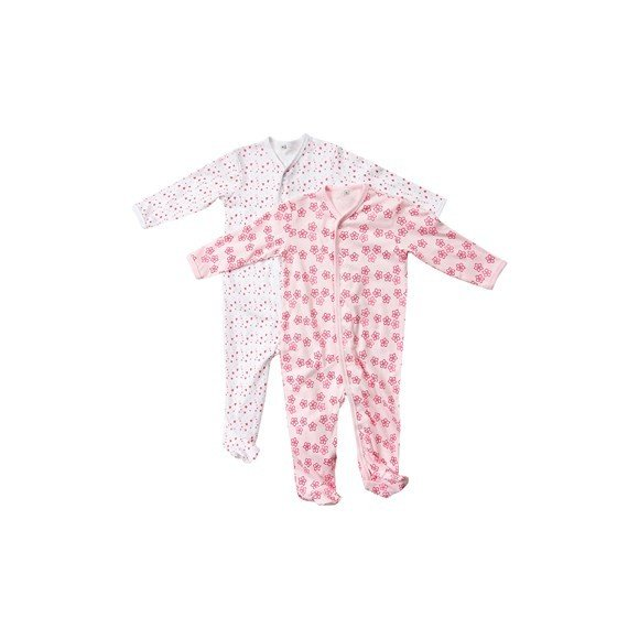 Pippi - Nightsuit w/f 2-pack - buttons - Light Rose