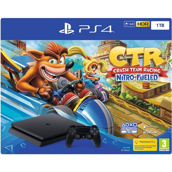Playstation 4 Console 1TB Black (Crash Team Racing Bundle)