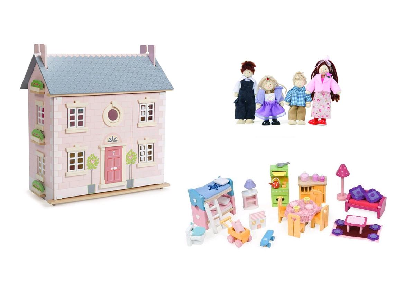 Le Toy Van - Bay Baum Haus - Puppenhaus mit Luxus Möbelset und Puppenfamilie