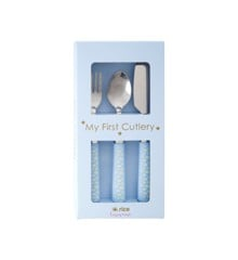 Rice - Stainless Steel Kids Cutlery with Plastic Handle - Blue