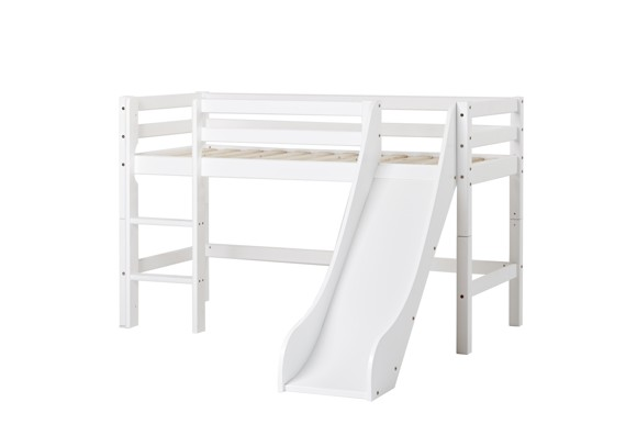 Hoppekids - BASIC Halvhøj seng med rutsjebane 70x160 cm - Hvid