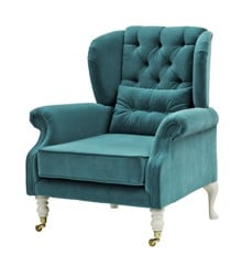 Rice - Velvet Wing Chair + Small Cushion - Petrol w. Grey Legs