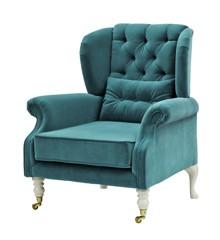 Rice - Velvet Wing Chair + Small Cushion - Petrol w. Grey Legs
