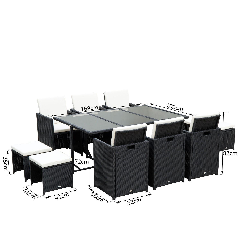 Køb Outsunny 11PC Rattan Garden Furniture Outdoor Patio ...