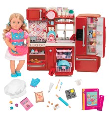 Our Generation - Red Gourmet Kitchen Playset with doll and accessories (BD37862ZT)