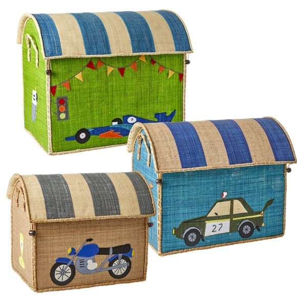 Rice - Large Set of 3 Toy Baskets - Race Car Theme