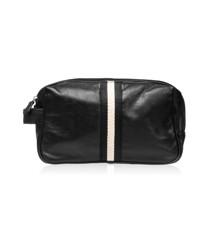 Studio - Men's Toiletry Bag in Black Leather w. Ribbon