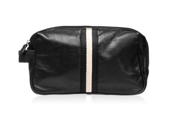 Studio - Men's Toiletry Bag in Black Leather w. Ribbon