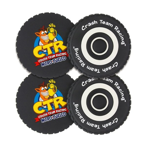 Crash Team Racing Tyre Coasters (4 Pack)