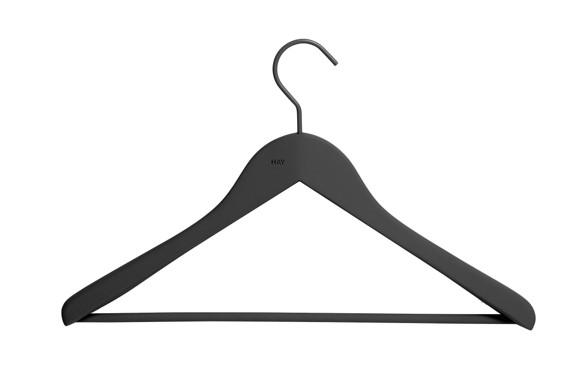 HAY - Soft Coat Hanger With Bar Wide Set of 4 - Black