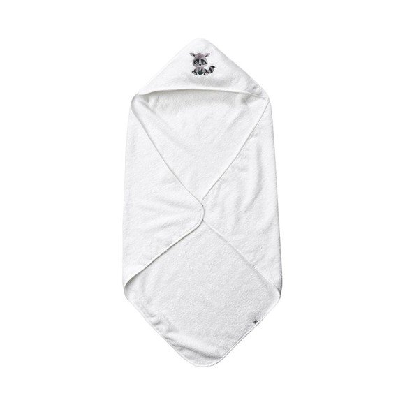 Pippi - Hooded towel with animal print - White