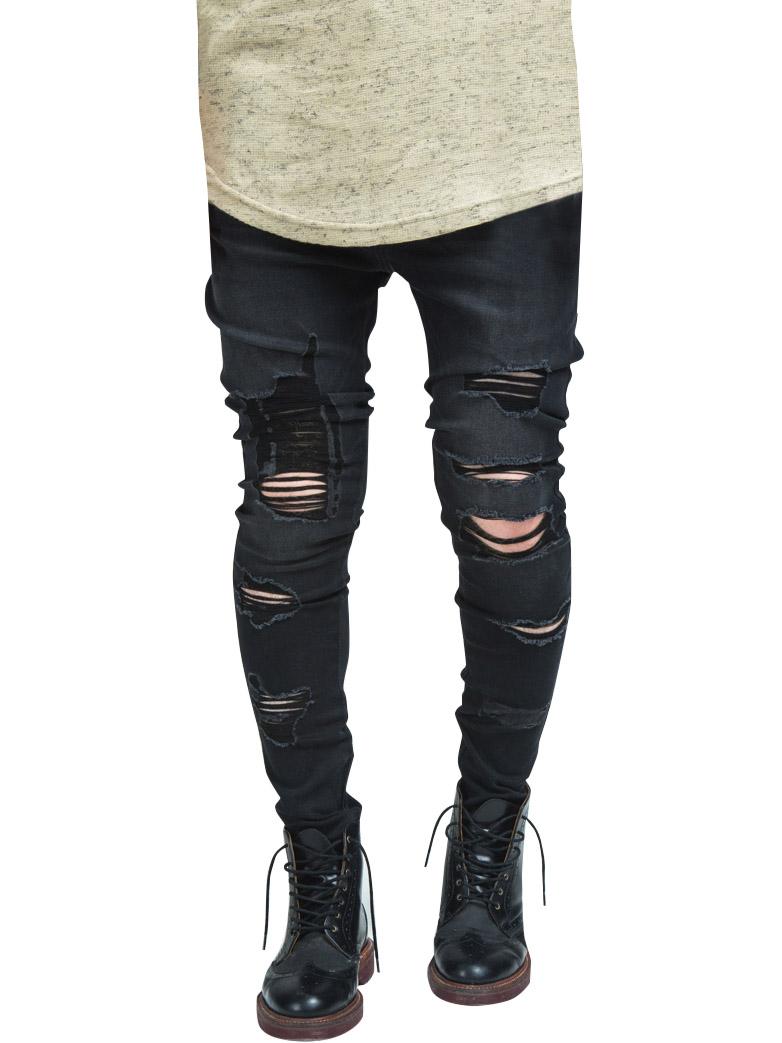 Köp SikSilk Raw Edge Drop Crotch Jeans Black