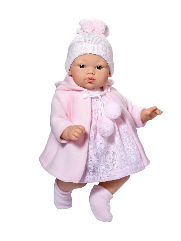 Asi dolls - Koke doll in grey and rose coat, 36 cm