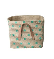Rice - Raffia Square Basket with Leather Handles and Painted Dots - Pastel Green