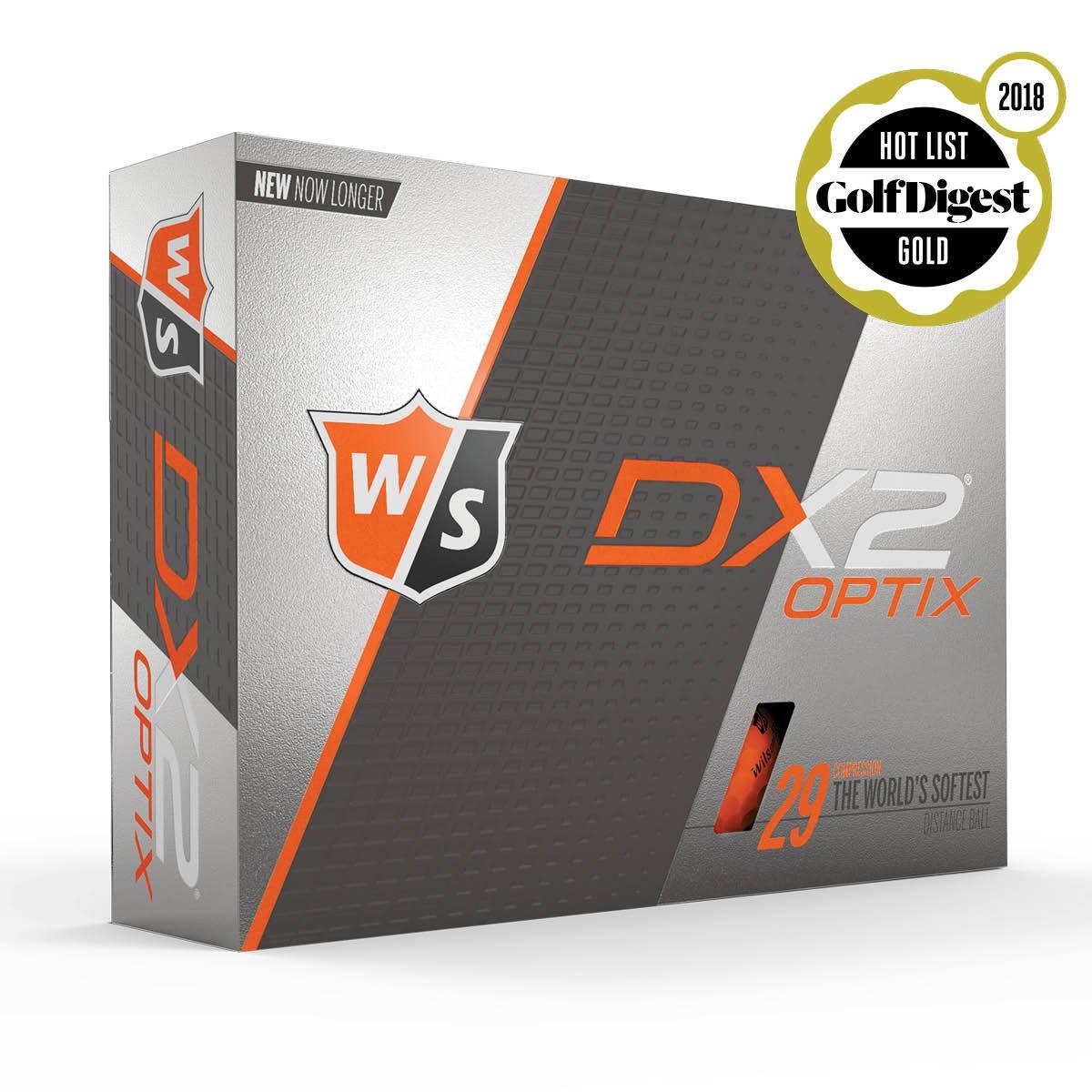 WILSON STAFF - DX2 SOFT OPTIX ORANGE GOLF BALLS - 12 PACK