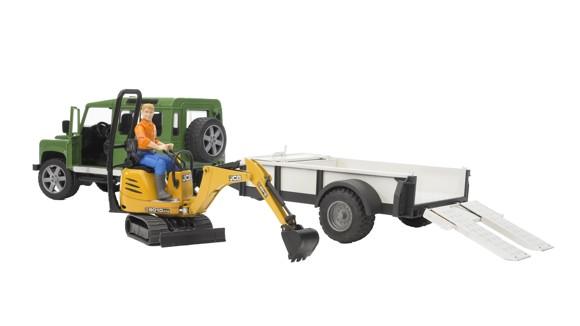Bruder - Land Rover Defender Station Wagon + JCB Micro Excavator (2593)