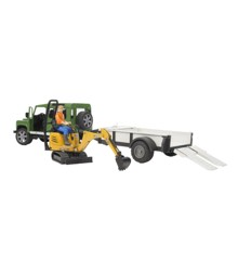 Bruder - Land Rover Defender Station Wagon + JCB Mini Graver