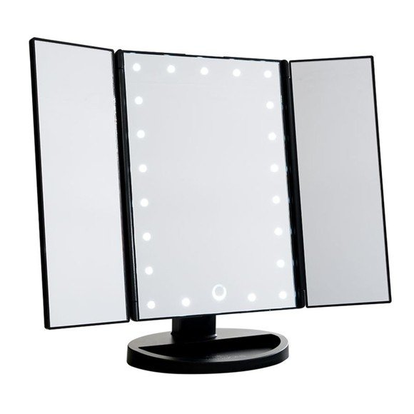 UNIQ® Hollywood Trifold Makeup Mirror With 21 LED Light Bulbs - Black