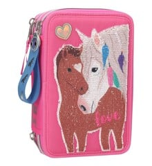 Miss Melody - Trippel Pencil Case w/ Sequins - Pink (0410529)